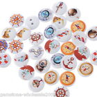Wholesale lots Mixed 2Hole Anchor Helm Wooden Buttons Sewing&Scrapbooking 15mmGW
