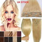 Clip in Remy Hair Extensions 100% Real Remy Human Hair THICK 90-120g Blonde A644