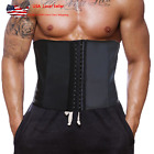 Men Latex Waist Trainer With Steel Bone Sweat Sauna Suit For Fitness US