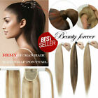 Straight Wrap Clip in- Ponytail 100% Real Remy Human Hair Clip in Extensions 80g