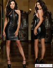 Womens Sexy LBD Faux Leather Stripper Burlesque Tie up Choker Dress