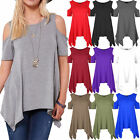 Womens Cold Cut Out Shoulder Ladies Oversized Baggy Loose Hanky Hem Flared Top