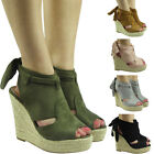 New Womens Ladies Lace Tie Up Peeptoe Espadrilles Wedges Shoes Sandals Size