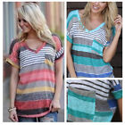 New Women's Loose  V Neck Short Sleeve Striped Pocket Casual T-Shirt Tops M/L/XL