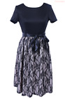 Elegant Women Summer Short Sleeve Lace Patchwork Floral Causual Swing Dress+Belt