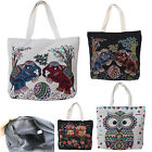 Reusable Shopping Owl Elephant bag Shoulder 100% Cotton zipped lined foldable