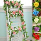 8ft Artificial Colorful Rose Garland Silk Flowers Vine Wedding Party Home Decor