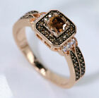 Halo Square Chocolate CZ Rose Gold Plated Women Fashion Jewelry Ring J954