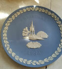 VINTAGE WEDGWOOD JASPERWARE 1986 CHRISTMAS PLATE ALBERT MEMORIAL