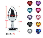 Butt Toy Plug Anal Insert Stainless Steel Plated Heart Jeweled Sexy Stoppers SML