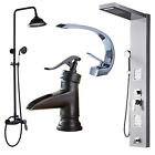 Stainless Steel Rain & Waterfall Shower Panel Tower System Massage Jets Tub Tap