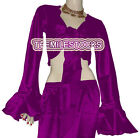 Purple TMS Satin Ruffle Wrap Top Tie Belly Dance Choli Gypsy Tribal 30 Color
