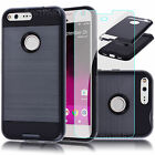 Black Shockproof Case Cover Armor+Tempered Glass Screen Film For Google Pixel XL