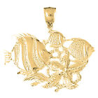 14K Gold Tropical Fish And Coral Pendant (Yellow, White or Rose) - AZ704-14K