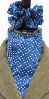 Royal Blue & White Pin Ready Tied/Self Tied Riding/Dressage Stock Tie +Scrunchie
