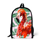 "Pink Flamingo Women Handbag Girls School Bag Bookbags 17"" Casual Backpack Design"