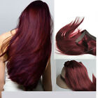 "16""-24'""Secert Invisible Wire 100% Human Hair Extensions  99j# red wine burgundy"