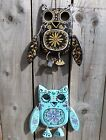 Hand Carved Wooden Skull Sugar Candy Day Of The Dead Owl Wall Plaque Mobile