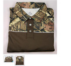 Boo Weekley Half Camo Shirt Mossy Oak and Brown Polo Golf Shirt Size Small