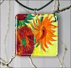 SUNFLOWERS DETAIL OF VAN GOGH PAINT PENDANT NECKLACE 3 SIZES CHOICE -njk3Z