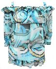 Ladies 16 - 26 Sexy Sheer Gypsy Strap Tunic Top Blues New Womens *LICK*