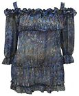 Ladies 16 - 26 Sexy Sheer Gypsy Strap Tunic Top Blues Sparkly New Womens *LICK*