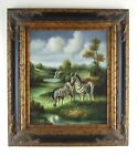 Contemporary African Safari Animals Zebras At the Watering Hole Art Oil Painting