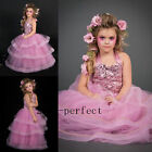 Pink Princess Flower Girl Dresses Formal Evening Prom Party Sequin Top Gowns New