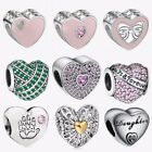 European Silver Charms heart1 Fit 925 sterling Bracelet bangle Necklace U Chain