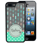 PERSONALIZED RUBBER CASE FOR iPHONE 7 6S 6 SE 5C 5 5S PLUS ARROWS TEAL POLKA DOT