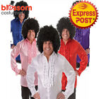 K383 60's 70's Groovy Hippie Shirt + Afro Wig Mens Fancy Dress Up Costume Outfit
