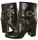 Michael Kors Womens Kendra Ankle Dark Chocolate Pull On Strap Buckle Heels Boots