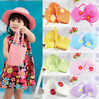 Flower Kid Girls Children Large Wide Brim Straw Summer Beach Sun Hat Cap and Bag