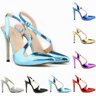 Womens Ladies Mid High Heel Strappy Crossover Wedding Sandals Shoes Size 3 : 9