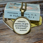 """Jim Morrison Quote """"A friend is someone who..."""" picture pendant necklace 20mm"""