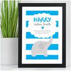 Personalised Elephant Print Present for Baby Boy - Christening Naming Day Gift