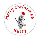 Personalised Olaf from Disney's Frozen Christmas Round Stickers Labels