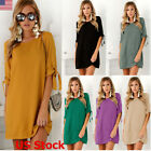 Us Womens Party Shirt Dress Ladies Crew Neck Bandage Sleeve Loose Mini Dress New