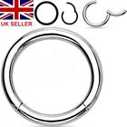 Surgical Steel Silver Hinged Ring Tragus Septum Nose Hoop Daith 6mm 8mm 10mm UK