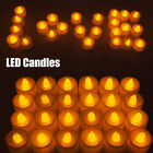 LED Flameless Tealights Battery Operated Flickering Tea Light Amber Xmas Candles