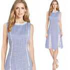 Womens Check Pattern Classy Lace Wear to Work Business Casual Party Skater Dress