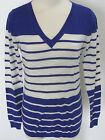 BANANA REPUBLIC Women's Blue & White Striped Light Weight Sweater Size L