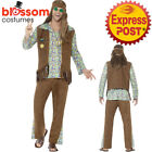 CA399 Mens Hippie Disco Costume 1960s Hippy Fancy Dress Up Retro 1970s Outfit