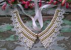 Fashion Gold Pearl Bead lace Tassels Detachable False Collar Necklace