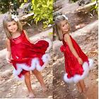 Children Baby Girls Sequins Christmas Party Hairy Belt Cake Formal Dress Clothes