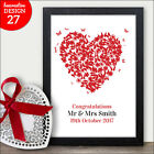 HEART Butterfly Personalised Wedding Print Present For Bride Groom Unique Plaque