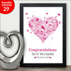 HEART Butterfly Personalised Wedding Keepsake Mr & Mrs Wedding Present Love Gift
