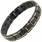 Sisto-X Mens/Ladies Titanium Bracelet in Black/Gold Peru Therapy Neodymium