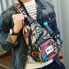 Men's Nylon Case Sling Pack Backpack Shoulder Bag Biker Crossbody Satchel