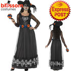 CA431 Black Day Of The Dead Skeleton Bride Dress Up Goth Dress Halloween Costume